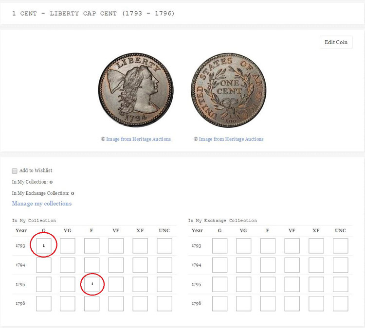 manage coins online collection