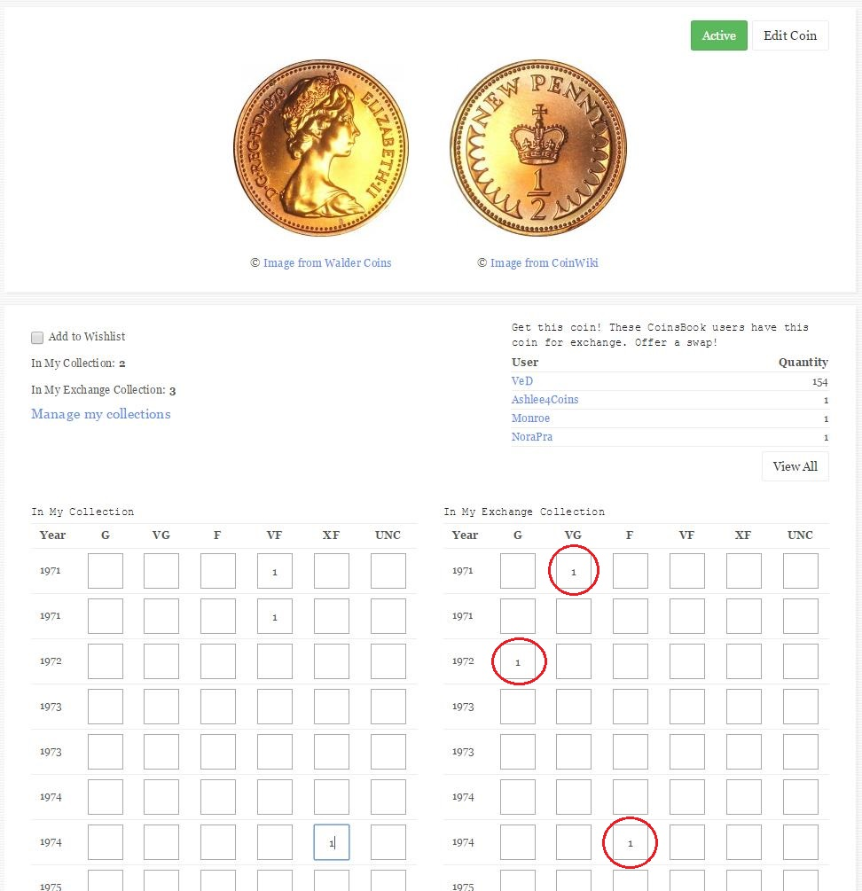 Manage coins exchange collection