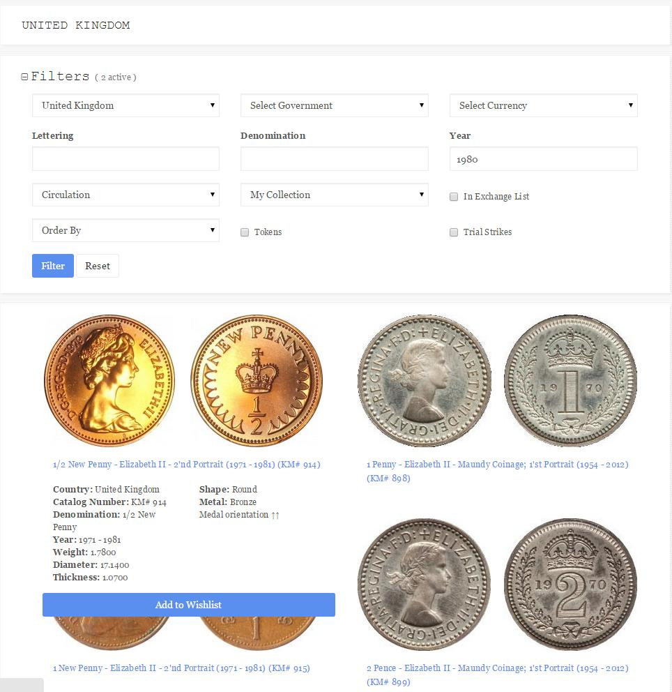 online coins catalog quick information