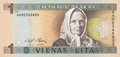 obverse of 1 Litas (1994) banknote with P# 53 from Lithuania. Inscription: 1 1994 LIETUVOS BANKAS 1 1 VIENAS LITAS