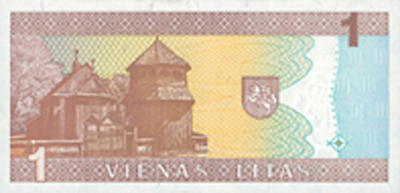 reverse of 1 Litas (1994) banknote with P# 53 from Lithuania. Inscription: 1 1 VIENAS LITAS