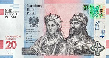 obverse of 20 Złotych - 1050th Anniversary of the Baptism of Poland (2016) banknote from Poland. Inscription: Narodowy Bank Polski 1050.rocznica CHRZTU POLSKI WARSZAWA 23 LISTOPADA 2015r. PREZES GŁÓWNY SKARBNIK DWADZIEŚCIA ZŁOTYCH 20 Dobrawa Mieszko I