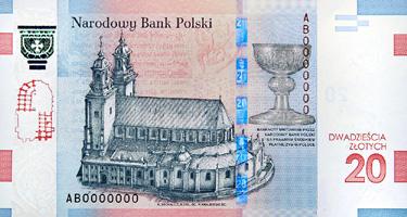 reverse of 20 Złotych - 1050th Anniversary of the Baptism of Poland (2016) banknote from Poland. Inscription: Narodowy Bank Polski BANKNOTY EMITOWANE PRZEZ NARODOWY BANK POLSKI SA PRAWNYM SRODKIEM PLATNICZYM W POLSCE DWADZIEŚCIA ZŁOTYCH 20 K. MICHALCZUK D