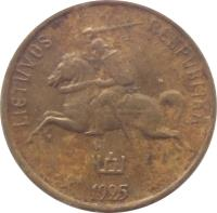 obverse of 1 Centas (1925) coin with KM# 71 from Lithuania. Inscription: LIETUVOS RESPUBLIKA 1925