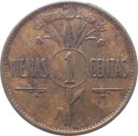reverse of 1 Centas (1925) coin with KM# 71 from Lithuania. Inscription: VIENAS 1 CENTAS