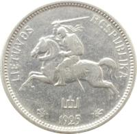obverse of 2 Litu (1925) coin with KM# 77 from Lithuania. Inscription: LIETUVOS RESPUBLIKA 1925