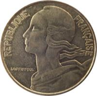 obverse of 20 Centimes (1962 - 2001) coin with KM# 930 from France. Inscription: REPUBLIQUE FRANÇAISE LAGRIFFOUL