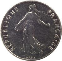 obverse of 1/2 Franc - O. Roty (1964 - 2001) coin with KM# 931.1 from France. Inscription: REPUBLIQUE FRANÇAISE O. Roty