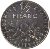 reverse of 1/2 Franc - O. Roty (1964 - 2001) coin with KM# 931.1 from France. Inscription: 1/2 FRANC 1986 LIBERTE · EGALITE · FRATERNITE