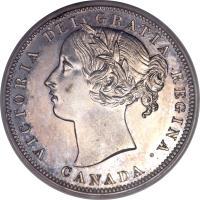 obverse of 20 Cents - Victoria (1858) coin with KM# 4 from Canada. Inscription: VICTORIA DEI GRATIA REGINA. CANADA