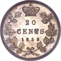 reverse of 20 Cents - Victoria (1858) coin with KM# 4 from Canada. Inscription: 20 CENTS 1858