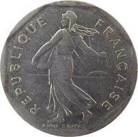 obverse of 2 Francs (1977 - 2001) coin with KM# 942.1 from France. Inscription: REPUBLIQUE FRANÇAISE D'APRÈS O.ROTY