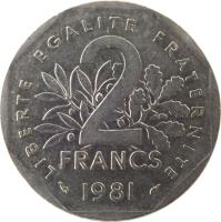reverse of 2 Francs (1977 - 2001) coin with KM# 942.1 from France. Inscription: LIBERTE EGALITE FRATERNITE 2 FRANCS 1979