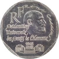 obverse of 2 Francs - Declaration of Human Rights (1998) coin with KM# 1213 from France. Inscription: René Cassin RF Déclaration Universelle des Droits de l'Homme 1948 1998