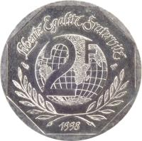 reverse of 2 Francs - Declaration of Human Rights (1998) coin with KM# 1213 from France. Inscription: LIBERTÉ EGALITÉ FRATERNITÉ 2 F 1998