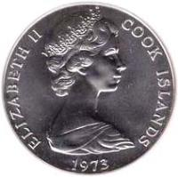 obverse of 2 1/2 Dollars - Elizabeth II - James Cook - 2'nd Portrait (1973 - 1974) coin with KM# 9 from Cook Islands. Inscription: ELIZABETH II COOK ISLANDS 1973