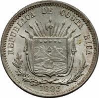 obverse of 25 Centavos (1889 - 1893) coin with KM# 130 from Costa Rica. Inscription: REPUBLICA DE COSTA RICA 1893