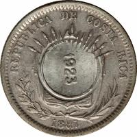 obverse of 50 Céntimos - Countermarked (1886 - 1887) coin with KM# 158 from Costa Rica. Inscription: REPUBLICA DE COSTA RICA 1923 1887