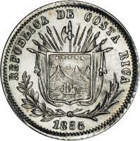 obverse of 5 Centavos (1885 - 1887) coin with KM# 125 from Costa Rica. Inscription: REPUBLICA DE COSTA RICA