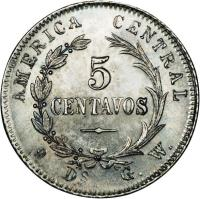 reverse of 5 Centavos (1885 - 1887) coin with KM# 125 from Costa Rica. Inscription: AMERICA CENTRAL 5 CENTAVOS GW