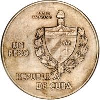 obverse of 1 Peso - ABC Peso (1934 - 1939) coin with KM# 22 from Cuba. Inscription: 900 M 27.7295 G UN PESO REPUBLICA DE CUBA