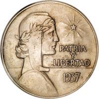 reverse of 1 Peso - ABC Peso (1934 - 1939) coin with KM# 22 from Cuba. Inscription: PATRIA Y LIBERTAD 1937