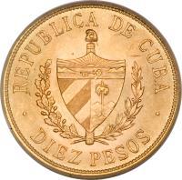 obverse of 10 Pesos - José Martí (1915 - 1916) coin with KM# 20 from Cuba. Inscription: REPUBLICA DE CUBA DIEZ PESOS