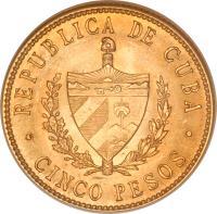obverse of 5 Pesos - José Martí (1915 - 1916) coin with KM# 19 from Cuba. Inscription: REPUBLICA DE CUBA CINCO PESOS