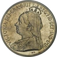 obverse of 18 Piastres - Victoria (1901) coin with KM# 7 from Cyprus. Inscription: VICTORIA · DEI · GRA · BRITT · REG · FID · DEF · IND · IMP · DeS
