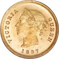 obverse of 1/4 Piastre - Victoria (1879 - 1901) coin with KM# 1 from Cyprus. Inscription: VICTORIA QUEEN 1887
