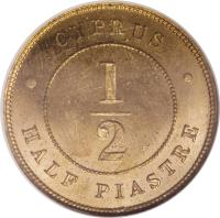 reverse of 1/2 Piastre - Victoria (1879 - 1900) coin with KM# 2 from Cyprus. Inscription: CYPRUS 1 2 HALF PIASTRE