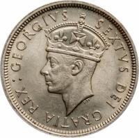 obverse of 2 Shillings - George VI (1949) coin with KM# 32 from Cyprus.