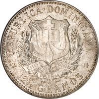 obverse of 1/2 Peso (1897) coin with KM# 15 from Dominican Republic. Inscription: REPUBLICA DOMINICANA * 12½ GRAMOS *