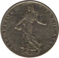 obverse of 1 Franc (1959 - 2001) coin with KM# 925.1 from France. Inscription: REPUBLIQUE FRANÇAISE O. Roty