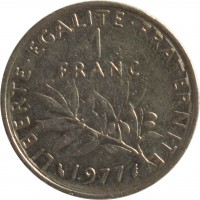 reverse of 1 Franc (1959 - 2001) coin with KM# 925.1 from France. Inscription: LIBERTE · EGALITE · FRATERNITE 1 FRANC 1999