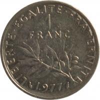 reverse of 1 Franc (1959 - 2001) coin with KM# 925.1 from France. Inscription: LIBERTE · EGALITE · FRATERNITE 1 FRANC 1977