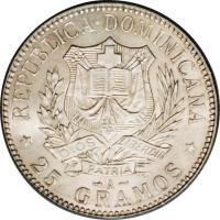 obverse of 1 Peso (1897) coin with KM# 16 from Dominican Republic. Inscription: REPUBLICA DOMINICANA * 25 GRAMOS *