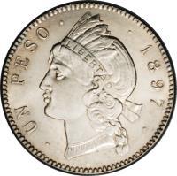 reverse of 1 Peso (1897) coin with KM# 16 from Dominican Republic. Inscription: 1 PESO · 1897 ·