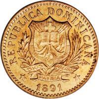 obverse of 5 Centesimos de Franco (1891) coin with KM# 8 from Dominican Republic. Inscription: REPUBLICA DOMINICANA DIOS PATRIA LIBERTAD 1891