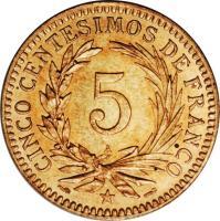 reverse of 5 Centesimos de Franco (1891) coin with KM# 8 from Dominican Republic. Inscription: CINCO CENTESIMOS DE FRANCO 5