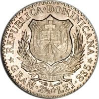 obverse of 50 Centesimos de Franco (1891) coin with KM# 10 from Dominican Republic. Inscription: REPUBLICA DOMINICANA DIOS LIBERTAD PATRIA GRAM 2.5 LEI 835