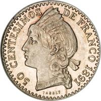 reverse of 50 Centesimos de Franco (1891) coin with KM# 10 from Dominican Republic. Inscription: 50 CENTESIMOS DE FRANCO 1891 TASSET