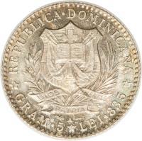 obverse of 1 Franco (1891) coin with KM# 11 from Dominican Republic. Inscription: REPUBLICA DOMINICANA GRAM 5 LEI 836