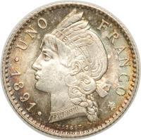 reverse of 1 Franco (1891) coin with KM# 11 from Dominican Republic. Inscription: UNO FRANCO 1891