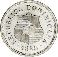 obverse of 1 1/4 Centavos (1882 - 1888) coin with KM# 6 from Dominican Republic. Inscription: REPUBLICA DOMINICANA 1888