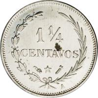 reverse of 1 1/4 Centavos (1882 - 1888) coin with KM# 6 from Dominican Republic. Inscription: 1¼ CENTAVOS
