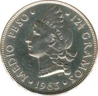 reverse of 1/2 Peso - Restoration (1963) coin with KM# 29 from Dominican Republic.
