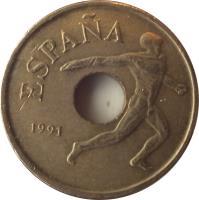 obverse of 25 Pesetas - Juan Carlos I - Barcelona '92 discus throw (1990 - 1991) coin with KM# 850 from Spain. Inscription: ESPAÑA 1991