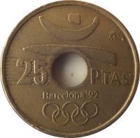 reverse of 25 Pesetas - Juan Carlos I - Barcelona '92 discus throw (1990 - 1991) coin with KM# 850 from Spain. Inscription: 25 PTAS barcelona 92
