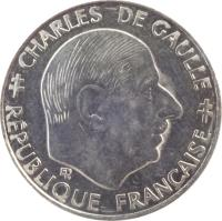 obverse of 1 Franc - 30th Anniversary of Fifth Republic (1988) coin with KM# 963 from France. Inscription: CHARLES DE GAULLE ER RÉPUBLIQUE FRANÇAISE